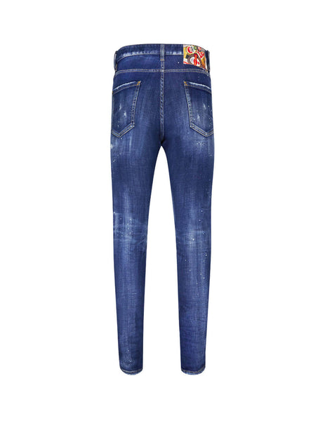 Dsquared2 Men's Giulio Fashion Blue Colourful Patch Jeans S74LB0597S30342470