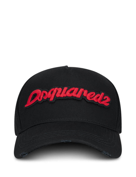 Men's Black and Red Dsquared2 Baseball Cap BCM035805C000012124