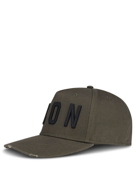 Men's Khaki and Black Dsquared2 ICON Embroidered Baseball Cap BCM400105C00001M1974