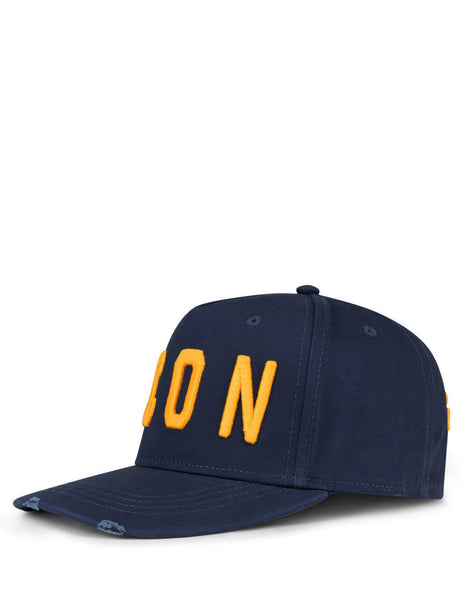 Men's Navy and Yellow Dsquared2 ICON Embroidered Baseball Cap BCM400105C00001M1386