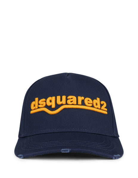 Men's Navy and Yellow Dsquared2 Logo Embroidered Baseball Cap BCM036105C00001M1386