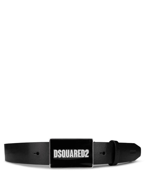 Men's Black and White Dsquared2 Logo Plaque Leather Belt BEM027712900001M1507