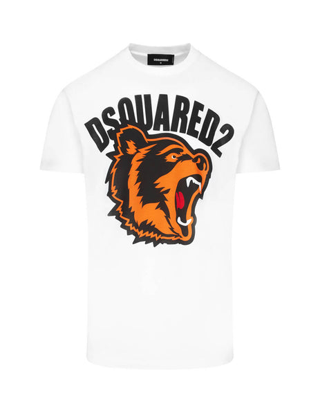 Dsquared2 Men's Giulio Fashion White Bear Print T-Shirt S74GD0584S21600100