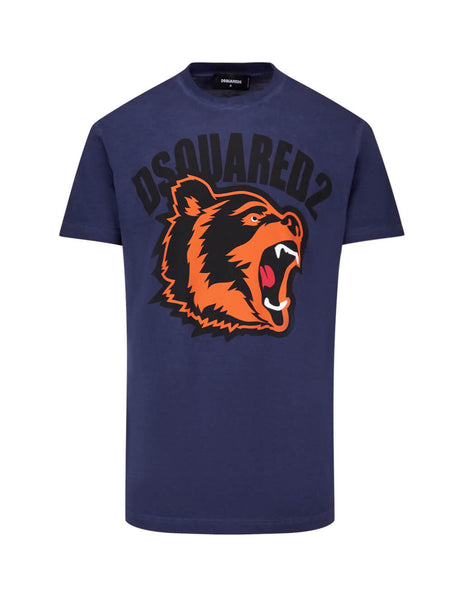 Dsquared2 Men's Giulio Fashion Navy Bear Print T-Shirt S74GD0584S21600524