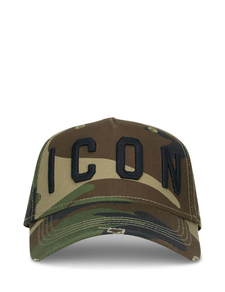 Dsquared2 Men's Giulio Fashion Green Camo Baseball Cap BCM400105C00001M1116