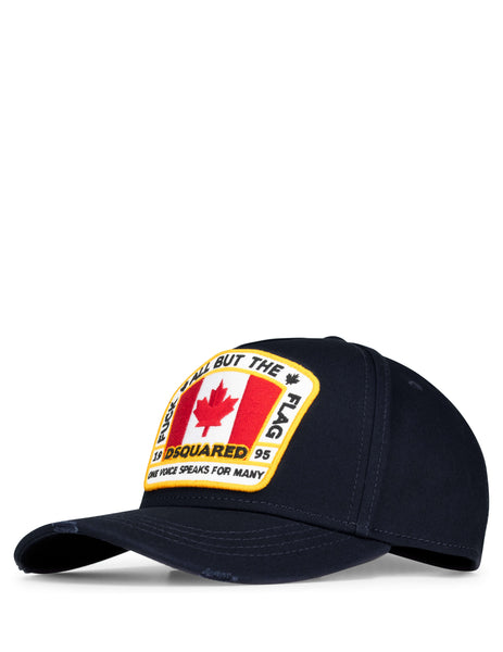 Dsquared2 Men's Giulio Fashion Navy Canada Patch Baseball Cap BCM401105C000013073