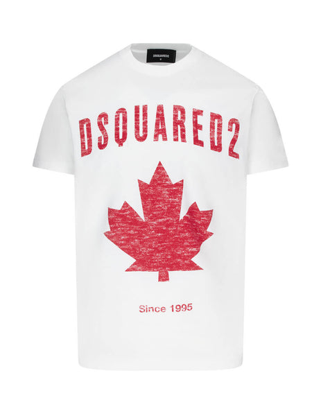 Dsquared2 Men's Giulio Fashion White D2 Leaf T-Shirt S74GD0706S22427100