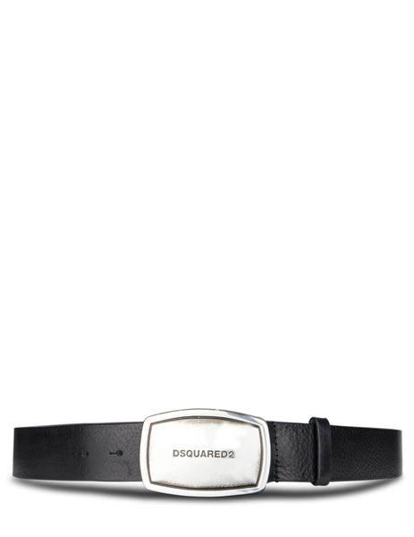 Dsquared2 Men's Giulio Fashion Black Engraved Buckle Belt BEM022312900001M1601