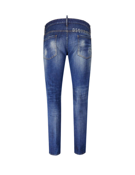 Dsquared2 Men's Giulio Fashion Blue Faded Logo Jeans S74LB0758S30342470