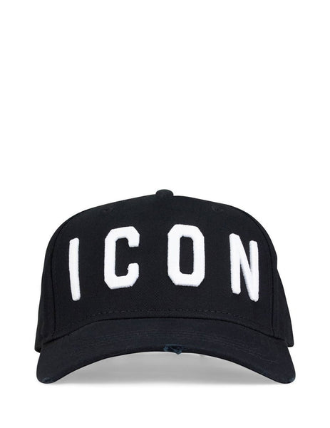 Men's Black and White Dsquared2 Icon Baseball Cap BCM400105C00001M063