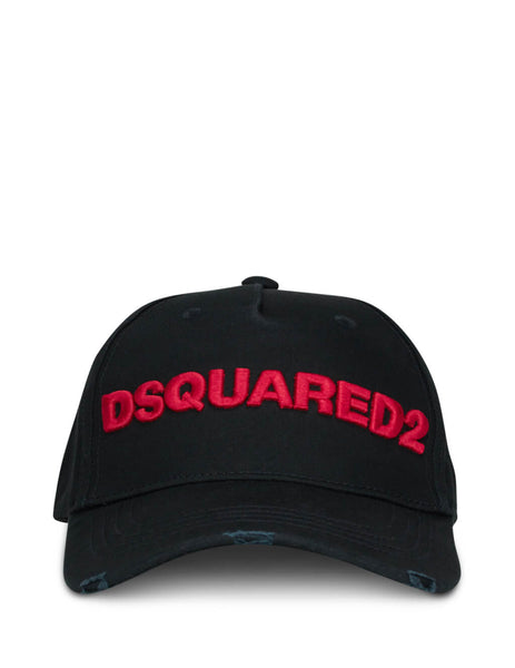 DSquared2 Men's Black Logo Embroidered Cap BCM002805C00001M002