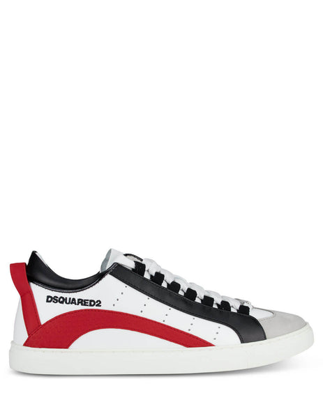 Men's White, Red and Black Dsquared2 Low Sole Sneakers SNM009001503047M1747