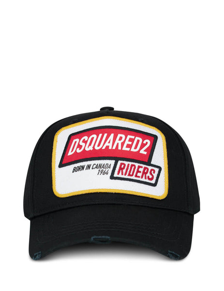 Dsquared2 Men's Black Riders Embroidered Cap BCM027105C000012124
