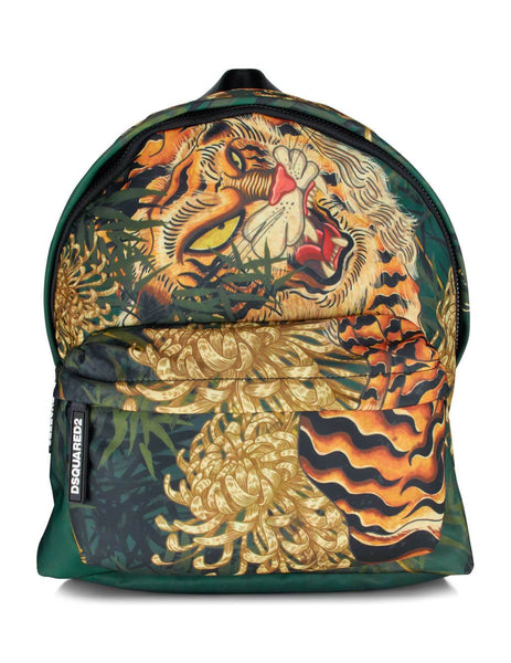 Dsquared2 Men's Green Tiger Print Backpack BPM001611702860M037