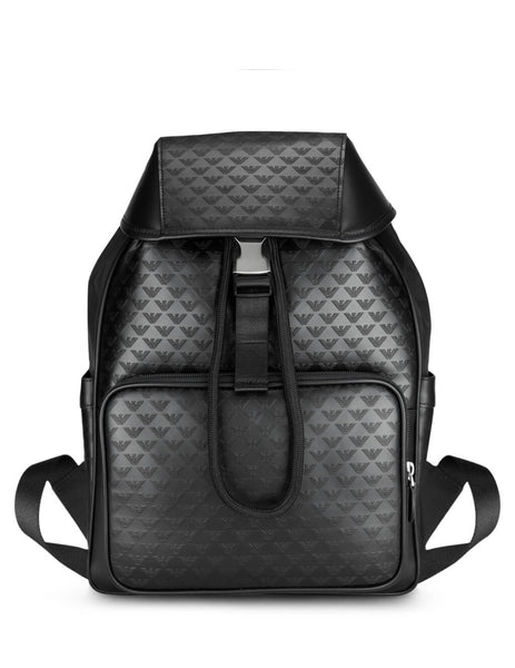 Men's Black Emporio Armani All-Over Logo Backpack Y4O174YC04380001