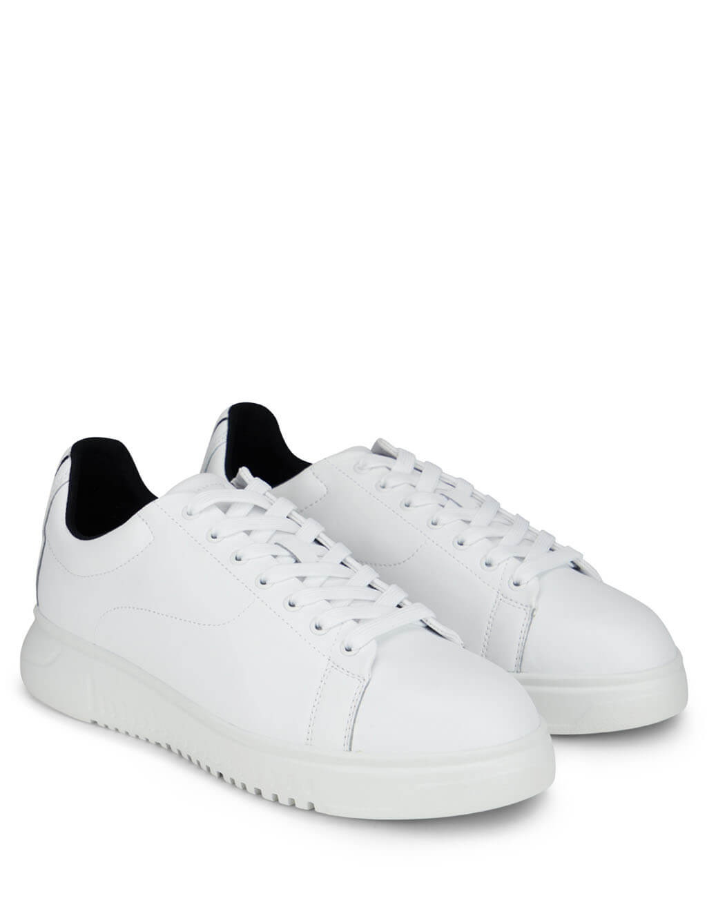 Men's Emporio Armani Heel Print Low-Top Sneakers in White - X4X312XM4901A222