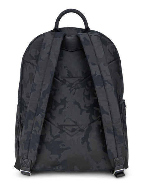 Men's Emporio Armani Jacquard Camouflage Print Backpack in Black Camo - Y4O311Y018E185149