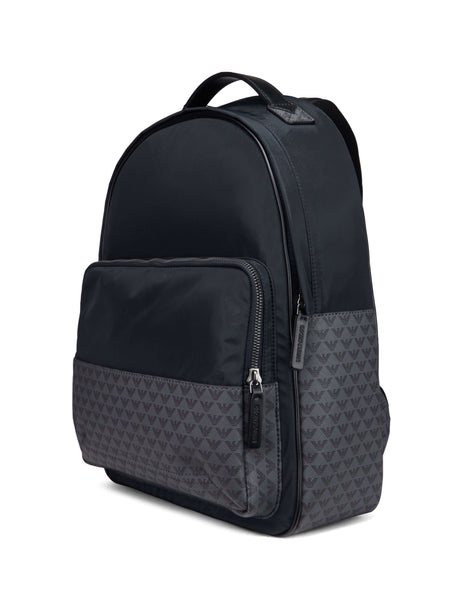 Emporio Armani Men's Navy Logo Pattern Backpack Y4O188YME4J83194