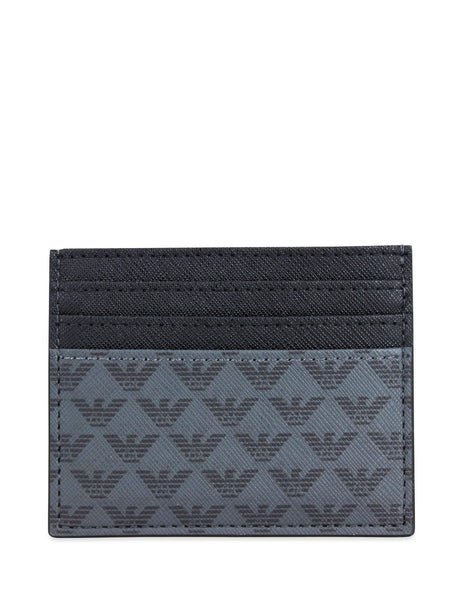 Men's Black and Grey Emporio Armani Logo Print Cardholder Y4R069YG91J81072
