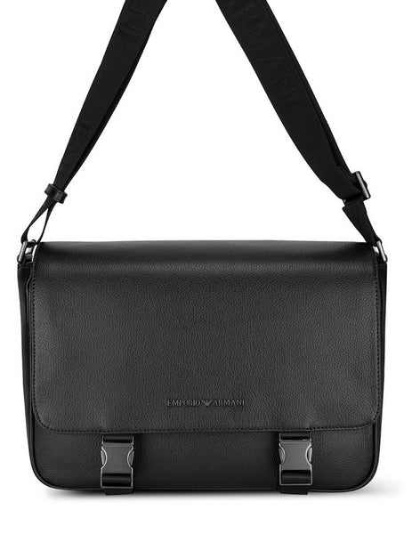 Men's Emporio Armani Tumbled Leather Messenger Bag in Black - Y4M240YEW0J181072
