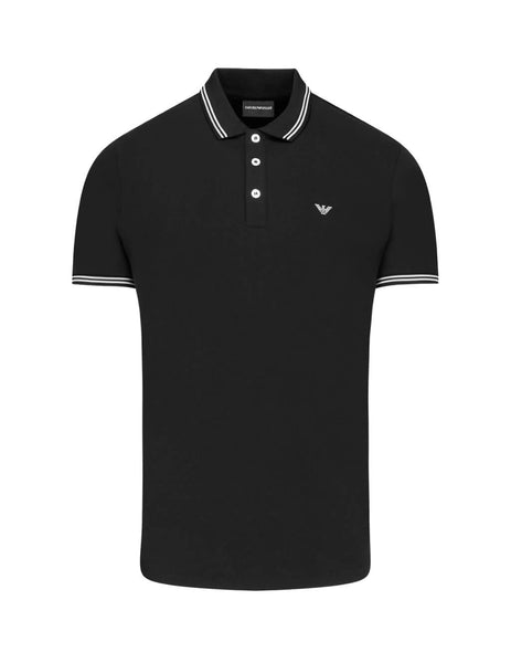 Emporio Armani Men's Giulio Fashion Black Contrast Piping Polo Shirt 8N1F2B1JPTZ0999