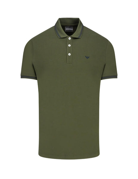 Emporio Armani Men's Giulio Fashion Khaki Contrast Piping Polo Shirt 8N1F2B1JPTZ0582