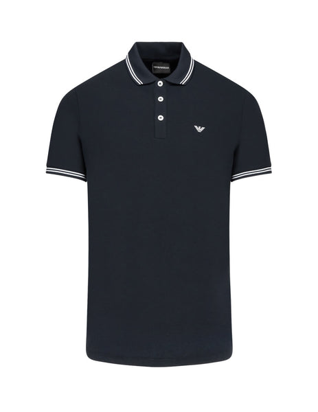 Emporio Armani Men's Giulio Fashion Navy Contrast Piping Polo Shirt 8N1F2B1JPTZ0939