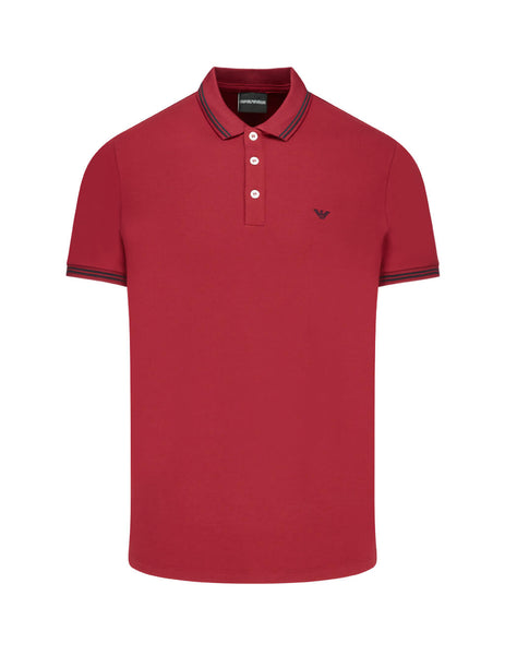 Emporio Armani Men's Giulio Fashion Red Contrast Piping Polo Shirt 8N1F2B1JPTZ0393