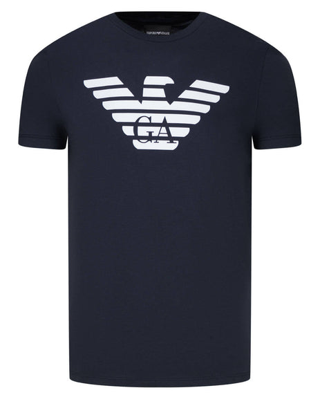 Men's Emporio Armani Eagle Print Pima Cotton T-Shirt in Dark Blue - 8N1T991JNQZ10939