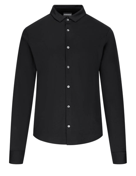 Men's Emporio Armani Interlock Jersey Shirt in Black - 8N1CH61JPRZ10999