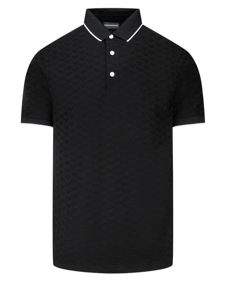 Men's Emporio Armani Jacquard Monogram Polo Shirt in Black - 8N1FP01JHWZ10999