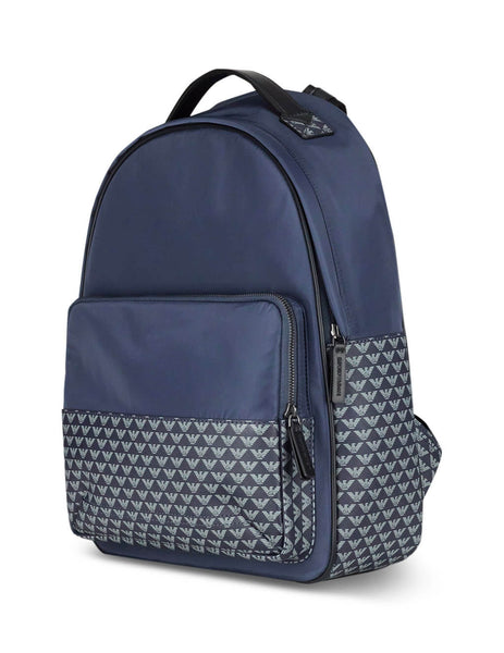 Men's Blue Emporio Armani Logo Pattern Backpack Y4O188YME4J84257