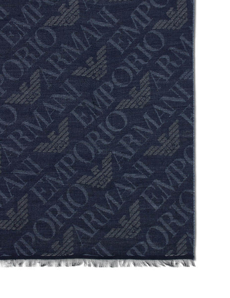 Men's Emporio Armani Logo Pattern Stole in Blue - 6252710A31400134