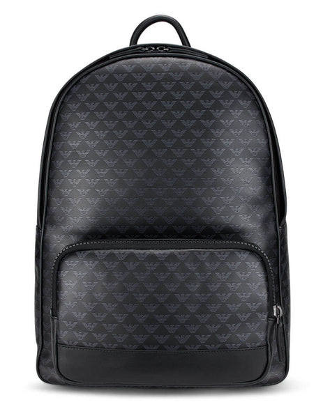 Men's Emporio Armani Monogram Print Leather Backpack in Black - Y4O250YTO2J84284