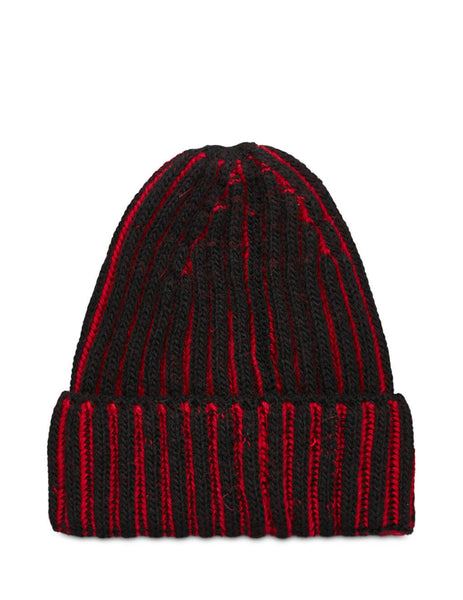 Men's Emporio Armani Ribbed Beanie in Black/Red - 6270120A51200020