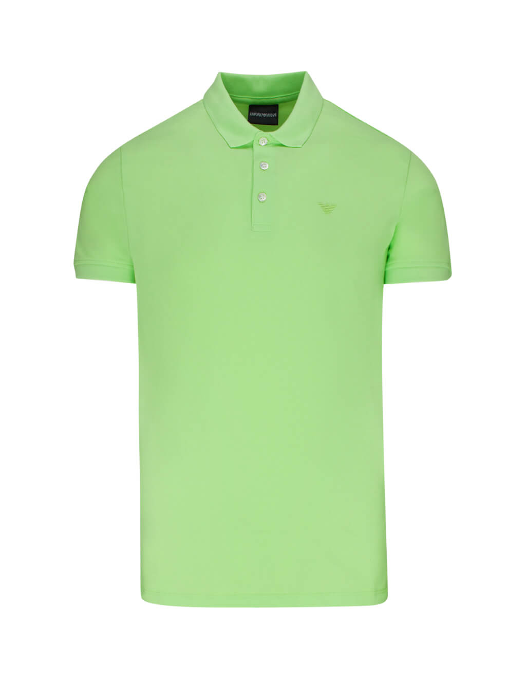 Men's Light Green Emporio Rubber Logo Polo Shirt 8N1F121J0SZ0583