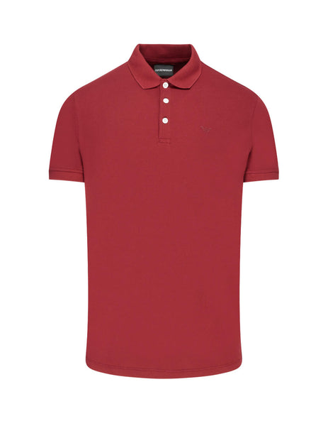 Emporio Armani Men's Giulio Fashion Red Rubber Logo Polo Shirt 8N1F121J0SZ0393