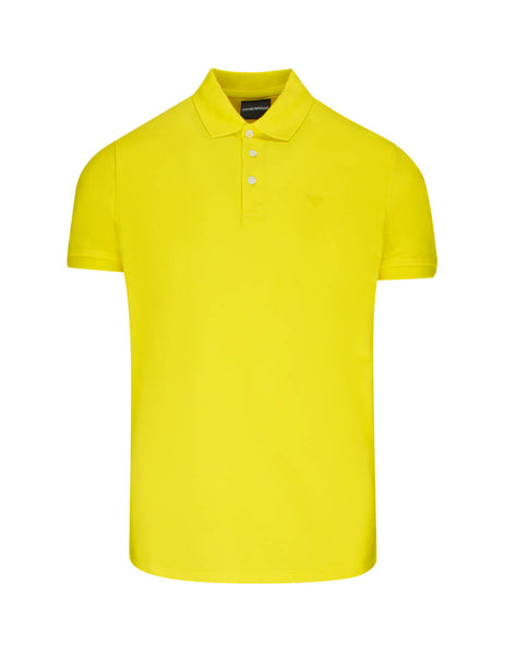 Men's Yellow Emporio Rubber Logo Polo Shirt 8N1F121J0SZ0254
