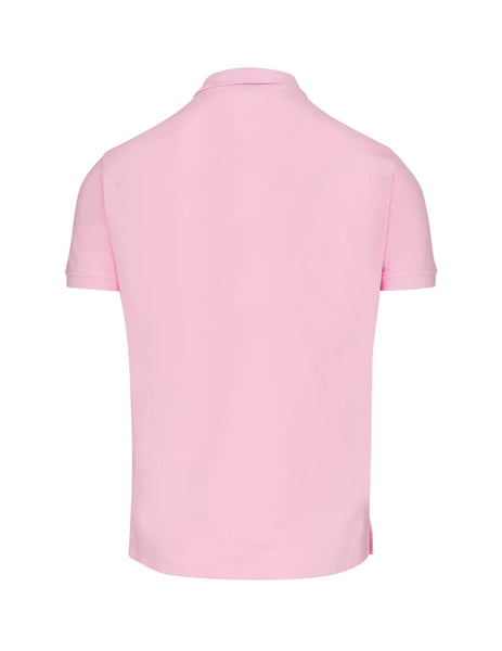 Men's Pink Emporio Rubber Logo Polo Shirt 8N1F121J0SZ0392