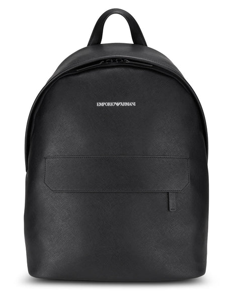 Emporio Armani Men's Black Saffiano Print Backpack Y4O313Y020V181072