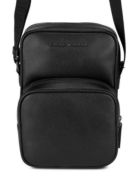 Men's Emporio Armani Tumbled Leather Crossbody Bag in Black - Y4M229YEW0J181072