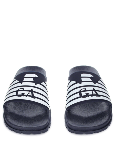 Emporio Armani Men's Giulio Fashion Navy/White Logo Slides X4P077XL273A043