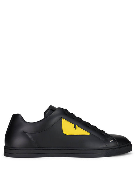 Fendi Men's Giulio Fashion Black & Yellow Bag Bugs Eye Leather Sneakers 7E1071TTYF07OM