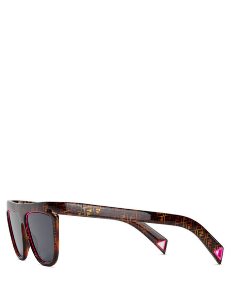 Fendi Eyewear Women's Brown Havana and Neon Pink FFluo Sunglasses FF 0384/S 0T4-IR