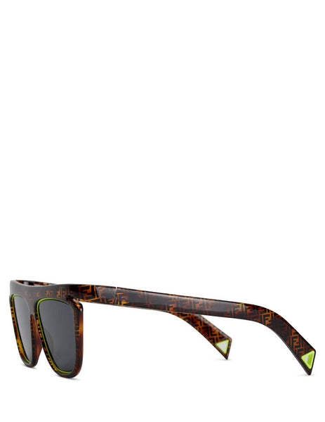 Fendi Eyewear Women's Brown Havana and Neon Yellow FFluo Sunglasses FF 0384/S HJV-IR