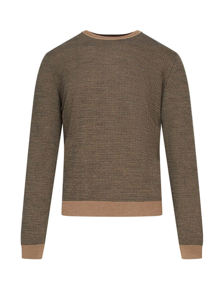 Fendi Men's Giulio Fashion Walnut/Wood All-Over FF Knit FZY029AAUCF1A6W