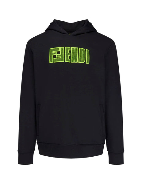 Fendi Men's Giulio Fashion Black F Fendi Lettering Hoodie FAF551A8JYF17W0