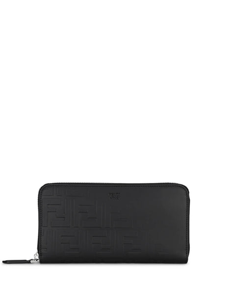Fendi Men's Leather Faded FF Wallet in Black and Strawberry Red 7M0291A9ZCF19KP