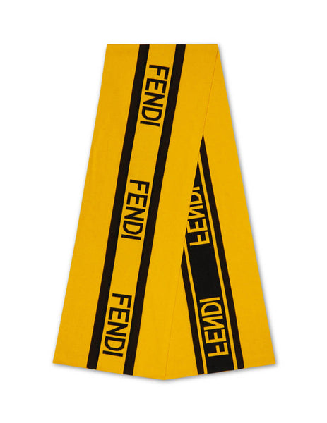 Fendi Men's Giulio Fashion Yellow Intarsia Logo Scarf FXS124ACHRF062J