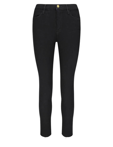 FRAME Women's Black Le High Skinny Raw Stagger Jeans LHSKRS403-FLMN